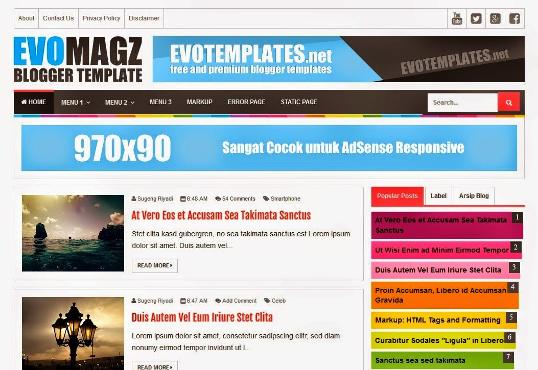 KUMPULAN TEMPLATE BLOG RESPONSIVE SEO FRIENDLY FAST LOADING TERBARU ...