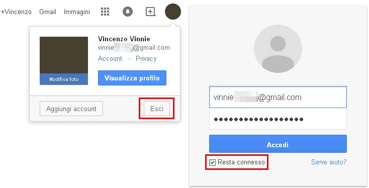 Account Google Esci e Resta connesso