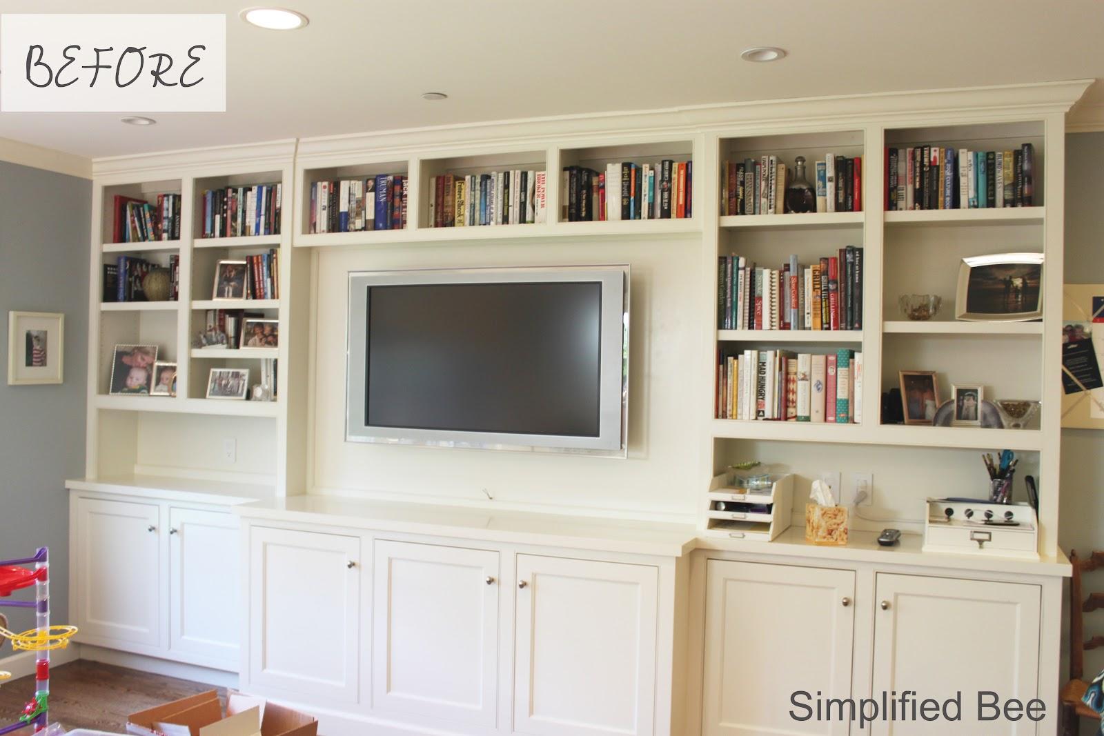 Bookshelf styling before after michaela noelle designs for Built in nook shelves