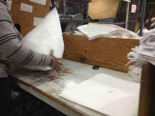 polyester fiber being blown into bags