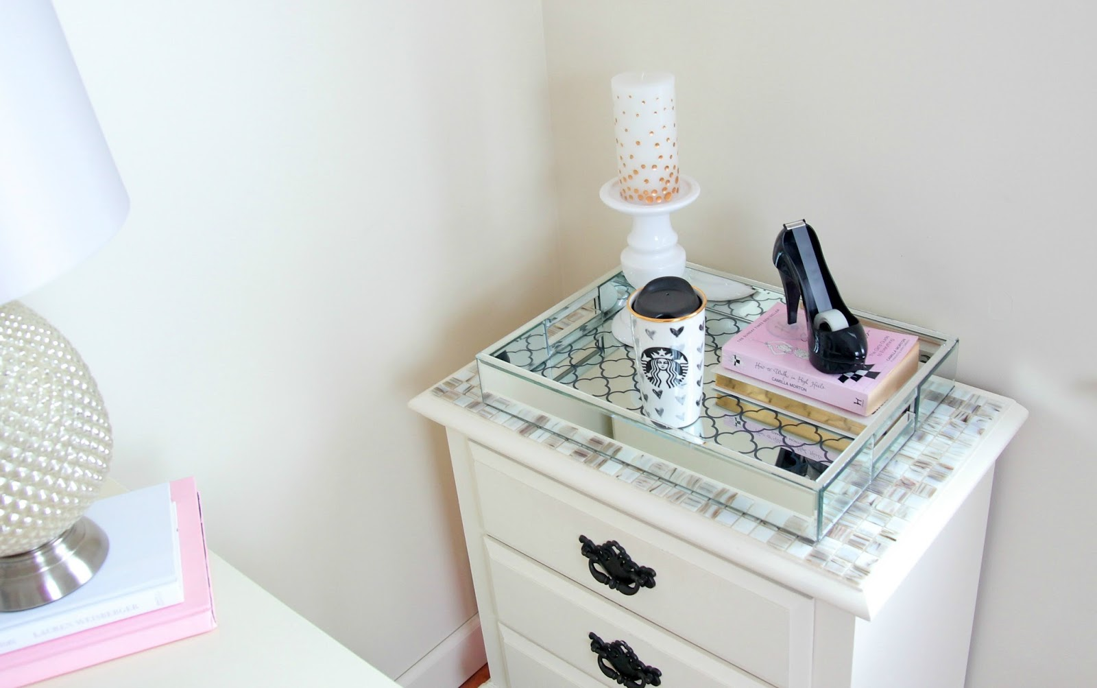 Girly Office - Girly Room Decor - Starbucks Heart Mug - High Heel Tape Dispenser - Painting Furniture - Mirrored Tray - Tj Maxx Tray