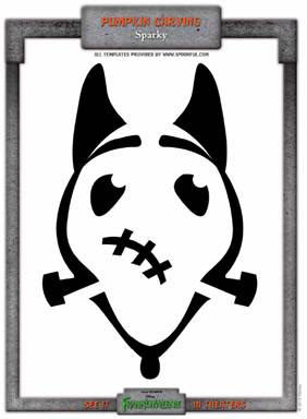 Pumpkin carving template, Frankenweenie, Sparky
