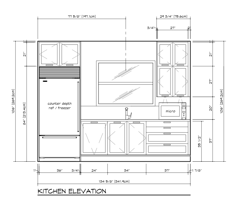 Kitchen Plan Elevation View : Jill seidner interior design yang jean kitchen