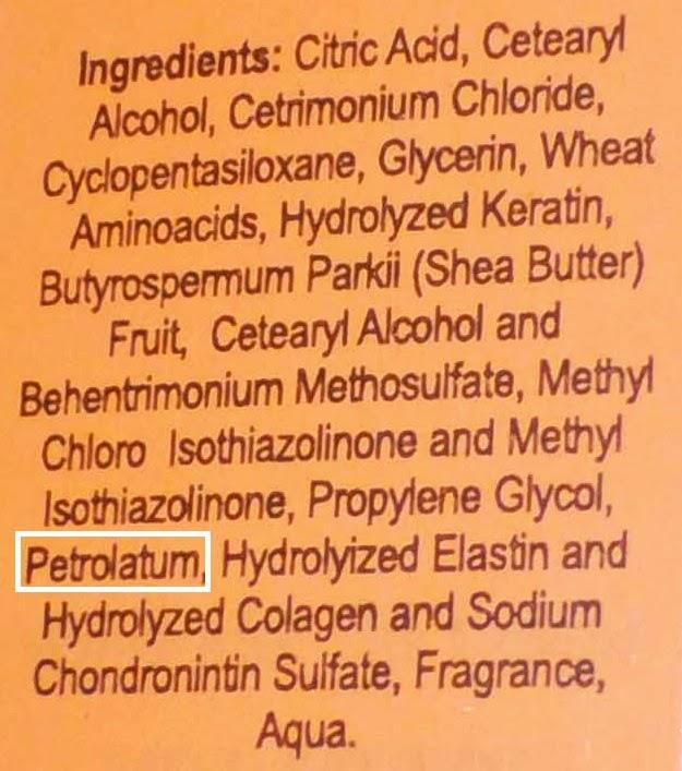 petroleo en productos para el pelo