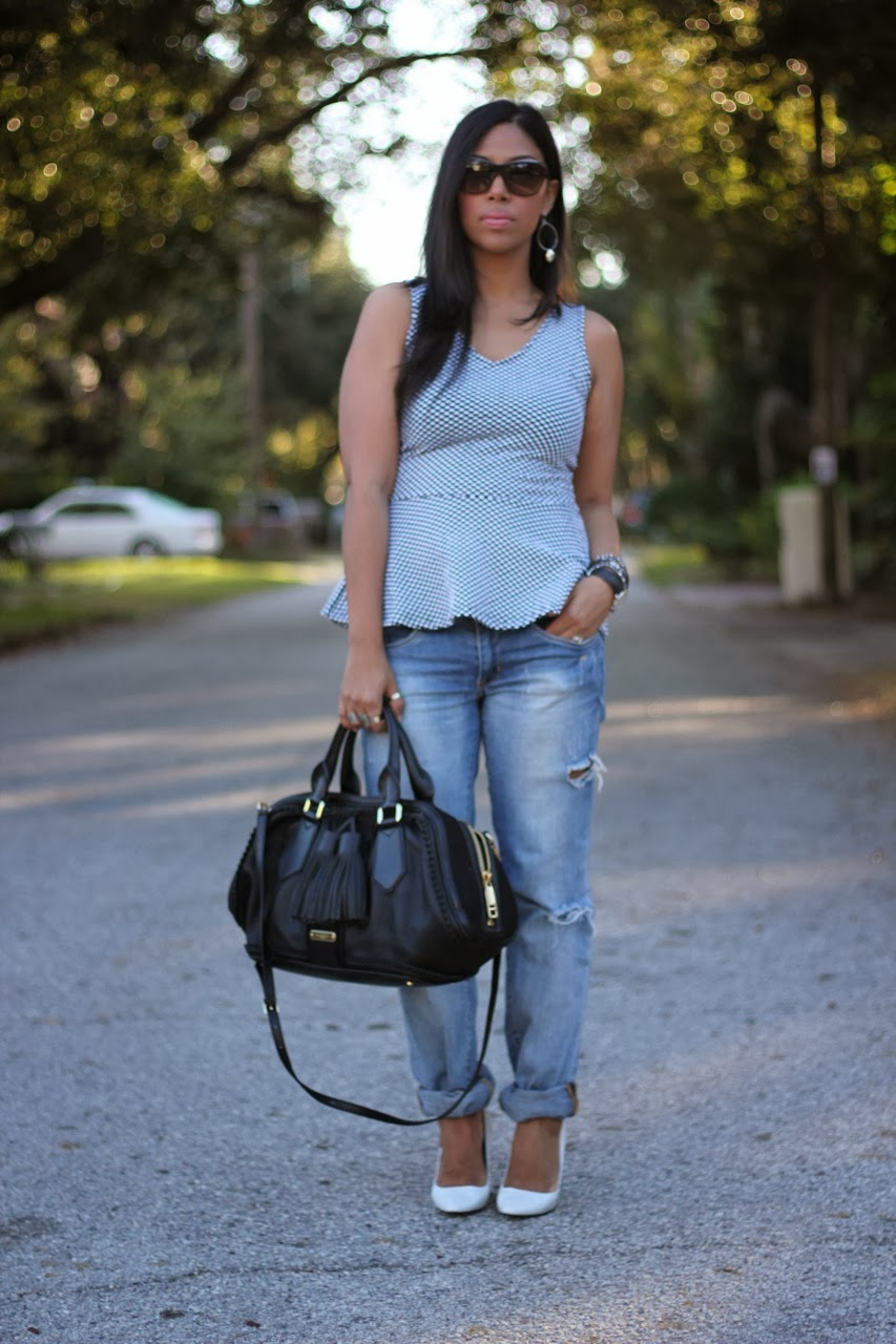 h&M peplum top distressed jeans blank denim burberry bag white zara wedges chanel sunglasses