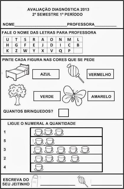 AVALIAÇÃO DIAGNÓSTICA 2º SEMESTRE 1º PERÍODO - 4 ANOS