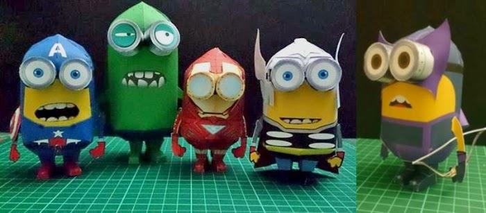 Paper Toy Minions fantasiados
