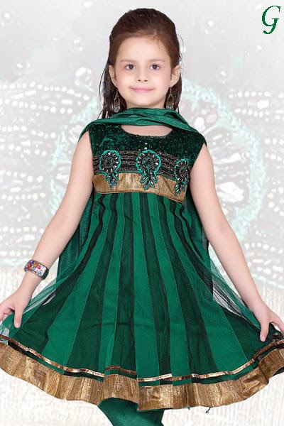 Baby Dresses-Fashion-Green-Anarkali-Salwar-Kids Pics