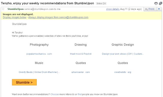 Stumbleupon weekly recommendation