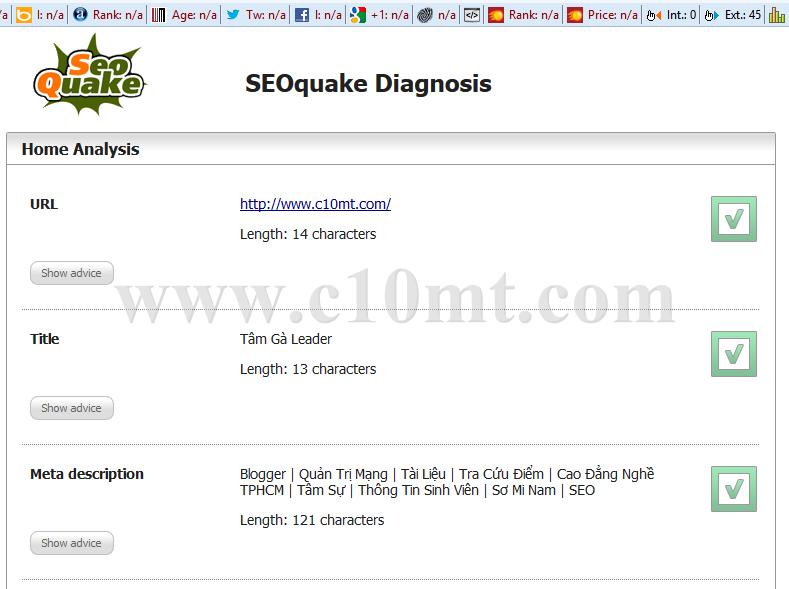 Xem SEO Quake trên website