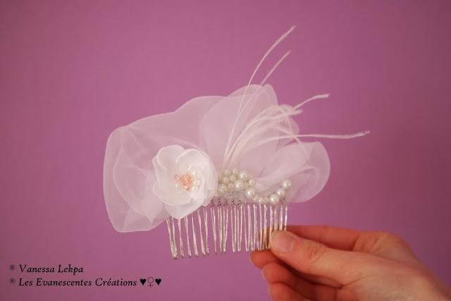 bijoux et accessoire de mariée en dentelle de calais, organza et tulle blanc. Fleurs pour cheveux de mariée réalisée à la main en taffetas banc et soie satinée