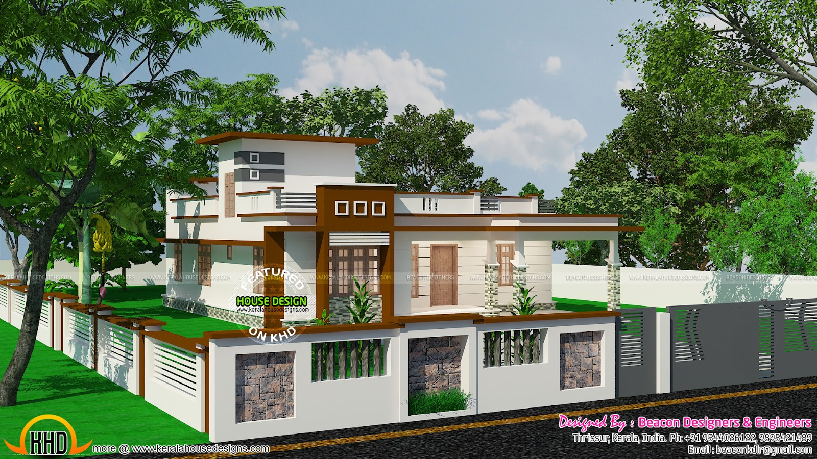Flat roofed small budget villa with stair room kerala for Small villa plans in kerala