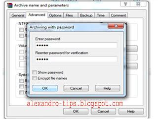 cara lengkap pasang password di winrar