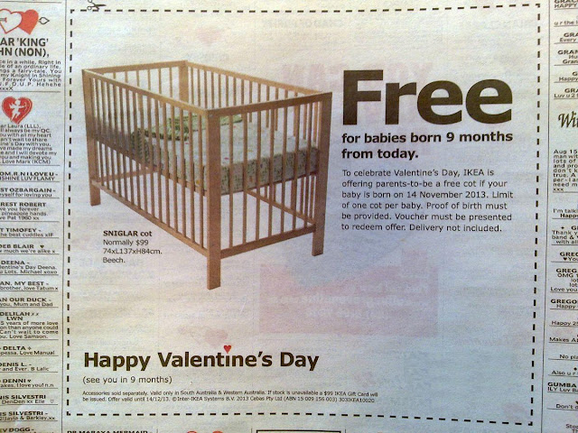 News papaer advertisement cutting of Valentine's Day