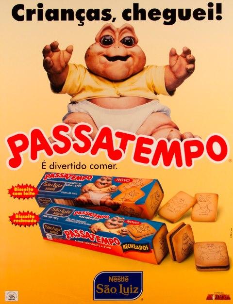 Propaganda da bolacha (Biscoito) Passatempo da Nestlé. Série que pegou carona no sucesso da Família Dinossauros em 1992.