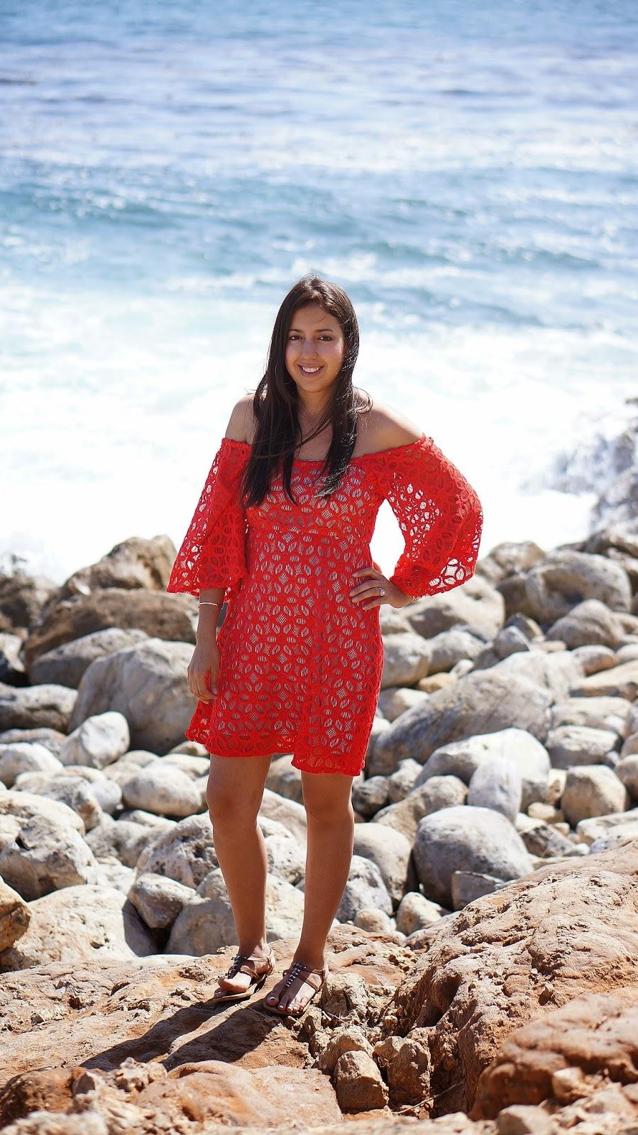 Off the shoulder red dress, Terranea Resort Trail, Summer fashion