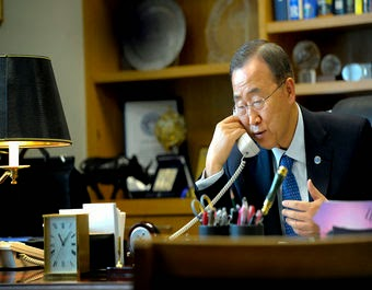 """UN Secretary General Ban Ki-moon, pictured here, is hoping for """"bold actions"""" at the upcoming climate summit in New York City. (Credit: Mark Garten, flickr) Click to enlarge."""