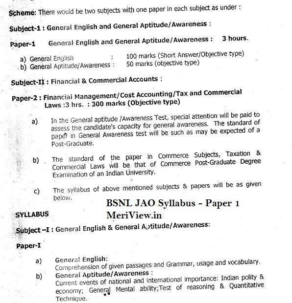 BSNL Accounts officer Syllabus