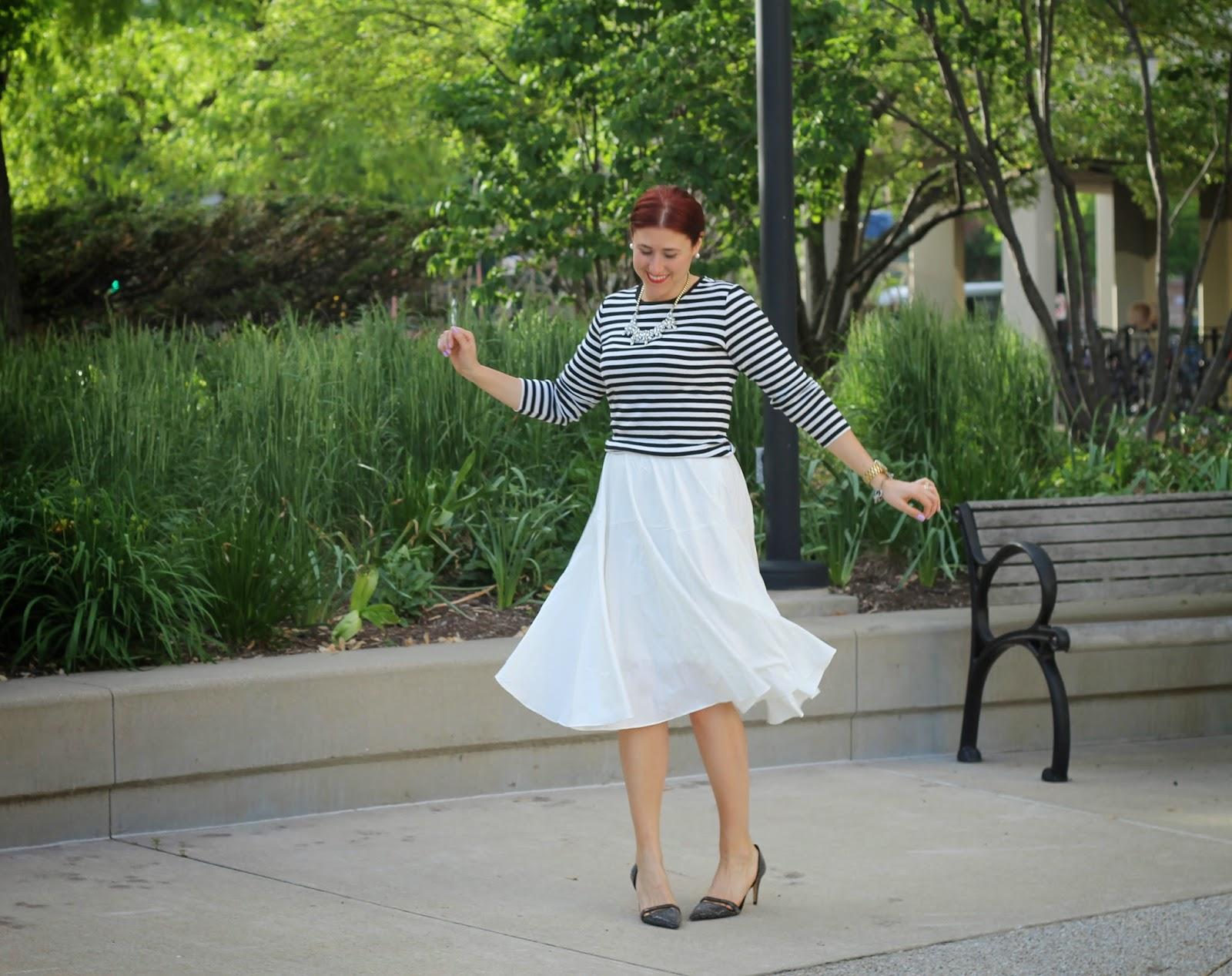 white, midi, skirt, striped, top, french, chicwish