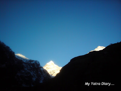 A stunning spectacle of the Neelkanth peak in the Garhwal   Himalayas, Uttarakhand completely lit up during sunrise