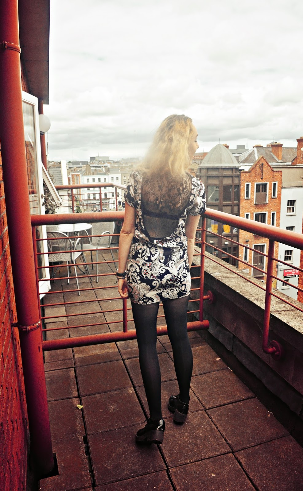 lace back, ark dress, patent black brogues, asos, stephi lareine, dublin