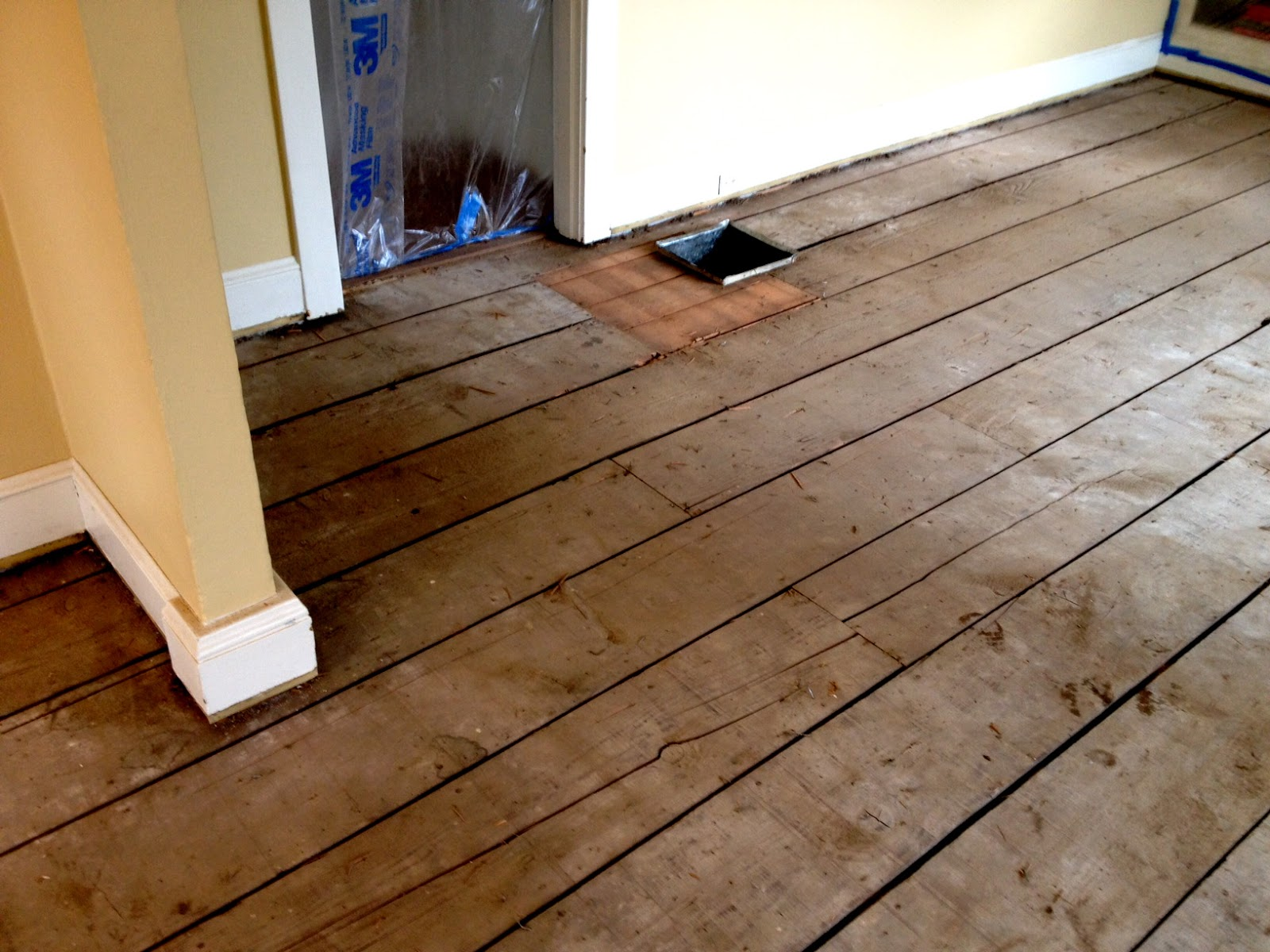 Lving room dining room floor demo living in the rain for Garden room flooring