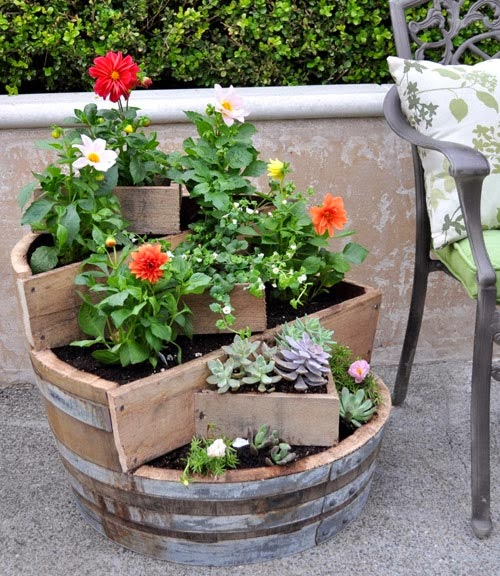 DIY PROJECT RECYCLED BARREL PLANTER