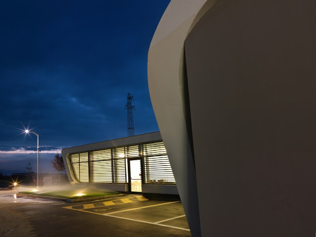 Deatil on the facade of Gazoline Petrol Station by Damilano Studio Architects