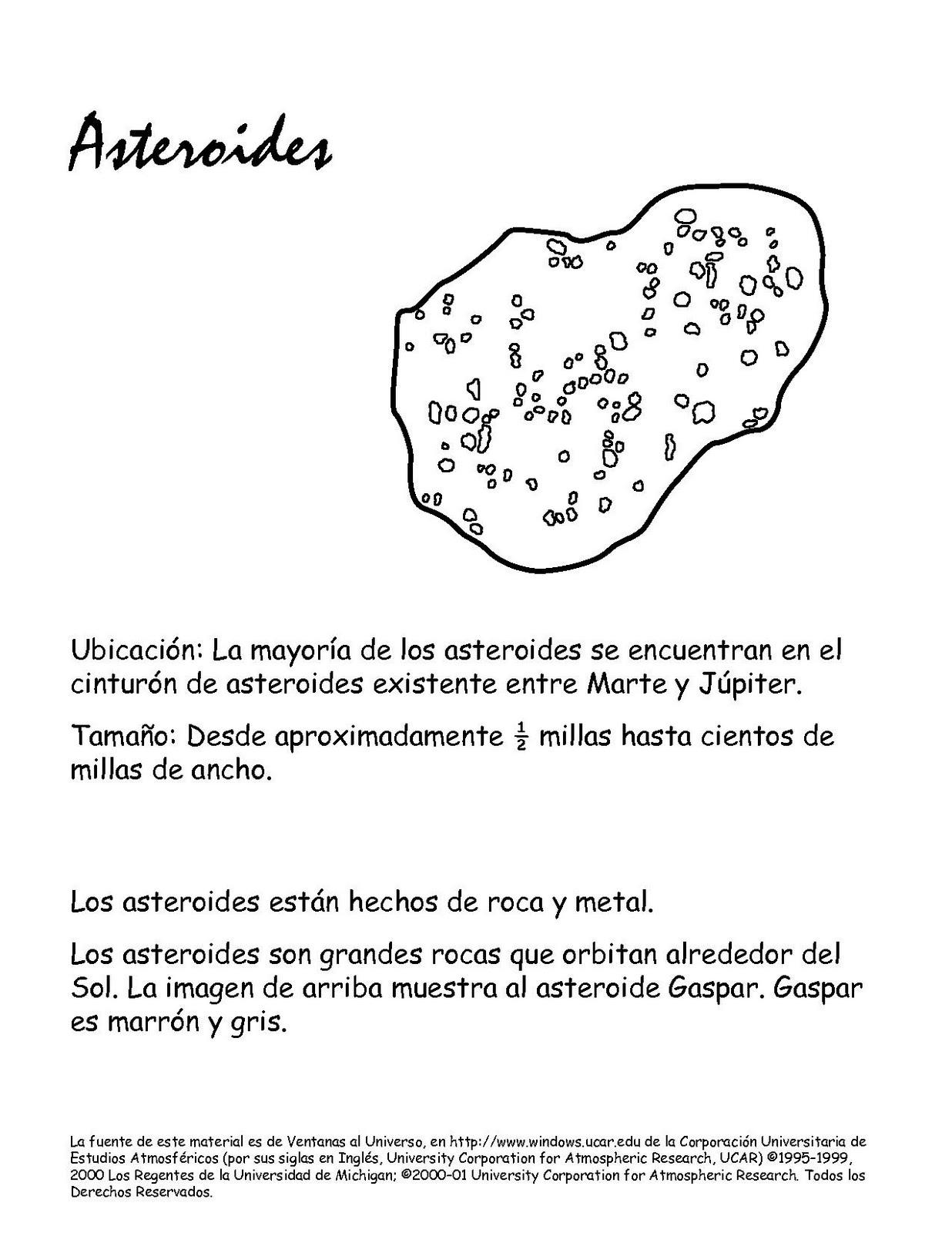 Portal Escuela Pintar y Colorear ASTEROIDES y astros del sistema ...
