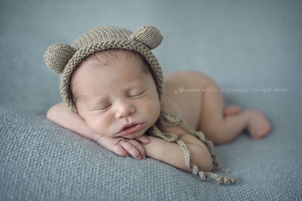 sleepy newborn teddy bear