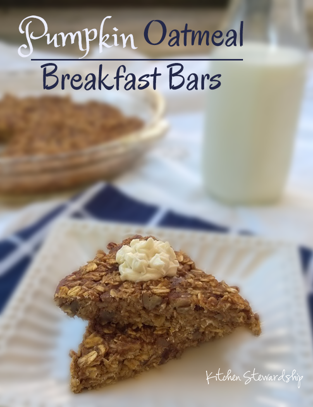 Pumpkin Spice Oatmeal Breakfast Bars- GF, Refined Sugar Free via: How to Just About Anything