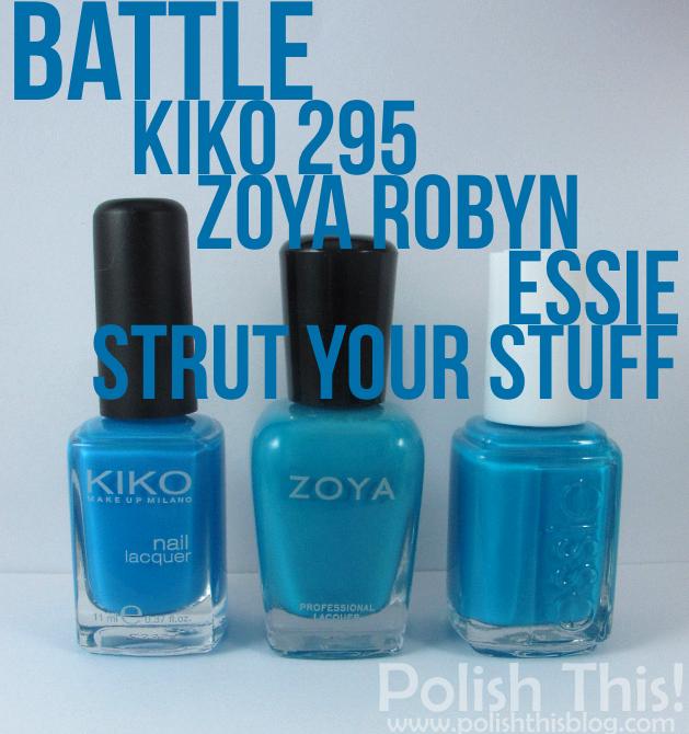 Nail Polish Battle: Kiko 295 Vs. Zoya Robyn Vs. Essie