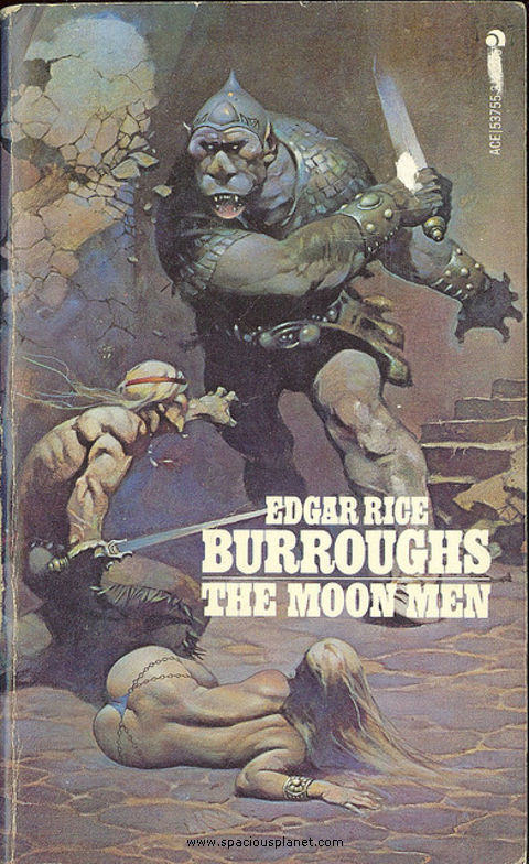 awesome classic sci-fi book cover Edgar Rice Burroughs - The Moon Men