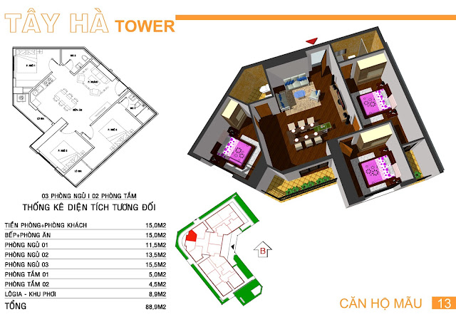 Căn số 13 chung cư Tây Hà Tower