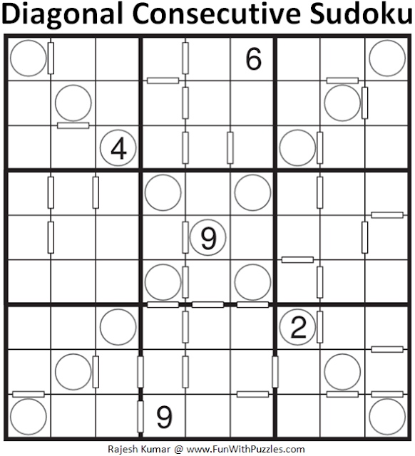 Diagonal Consecutive Sudoku (Daily Sudoku League #133)