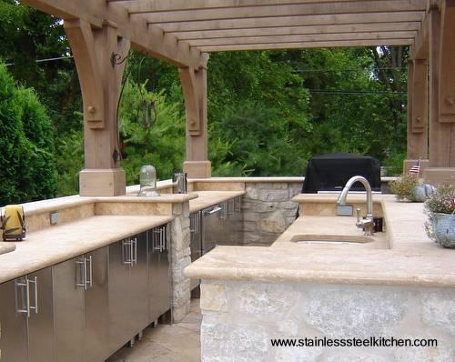 Arquitectura de casas cocina completa en acero inoxidable for Muebles de cocina para exterior