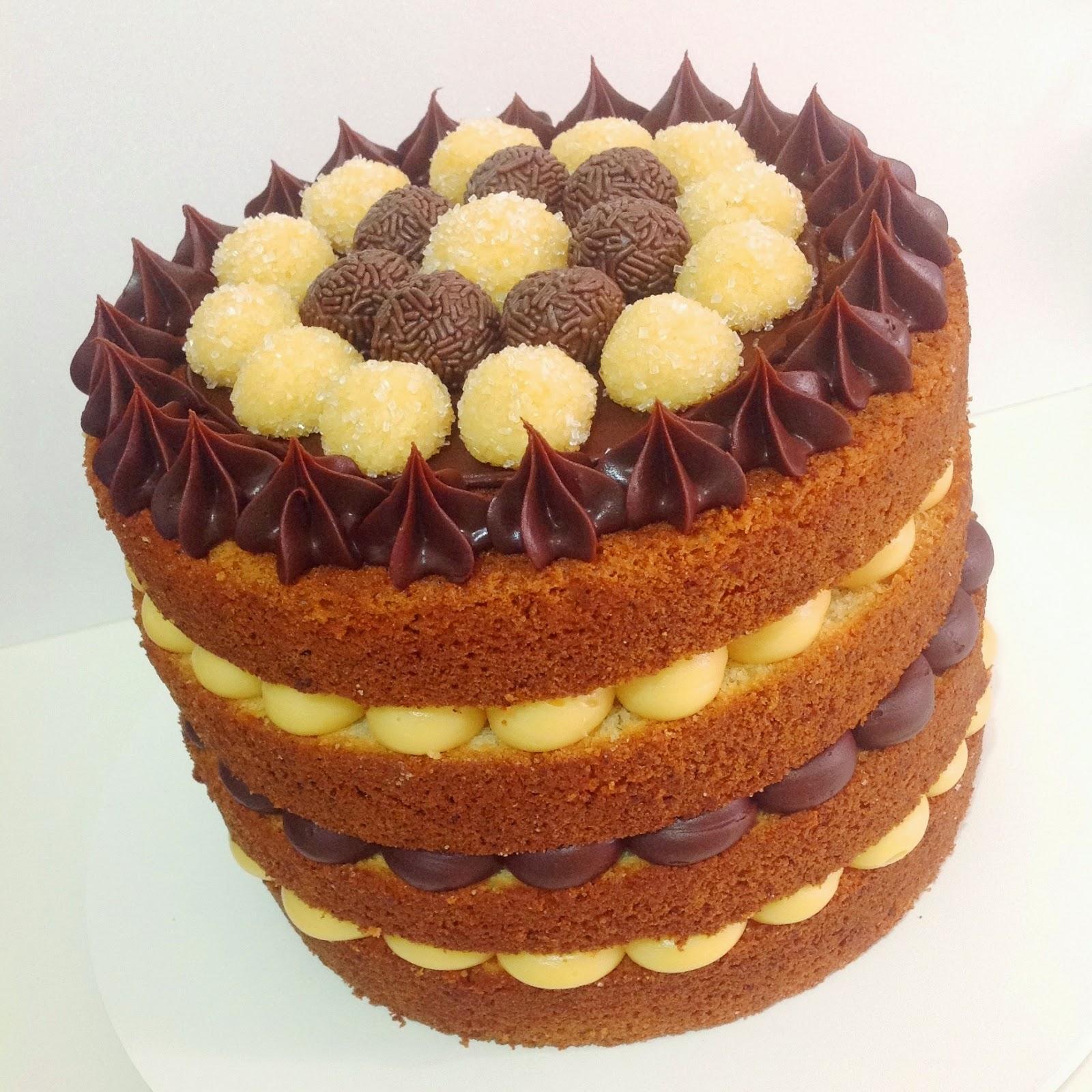 Naked Cake Brigadeiro - delicioso e bem recheado bolo de