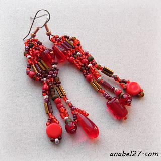 купить украшения в стиле бохо красные серьги из бисера