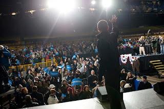 Barack Obama President Of America happy on stage