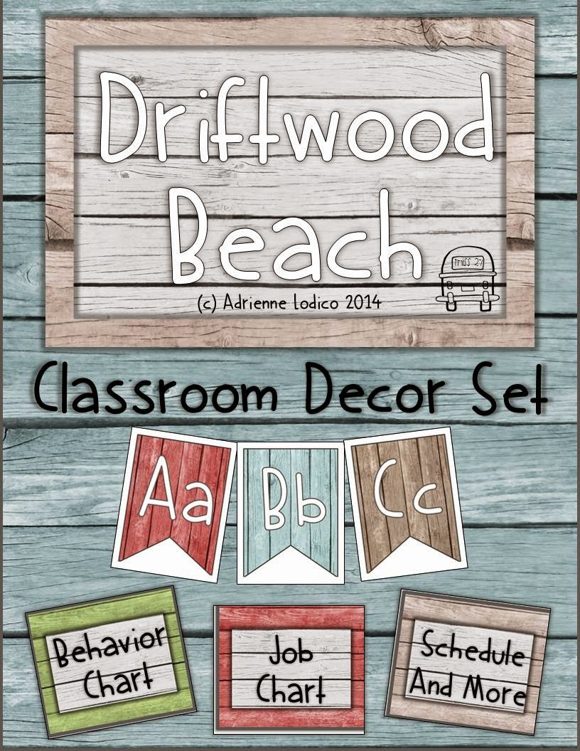 http://www.teacherspayteachers.com/Product/Driftwood-Beach-Classroom-Decor-Set-Distressed-wood-class-theme-1327275