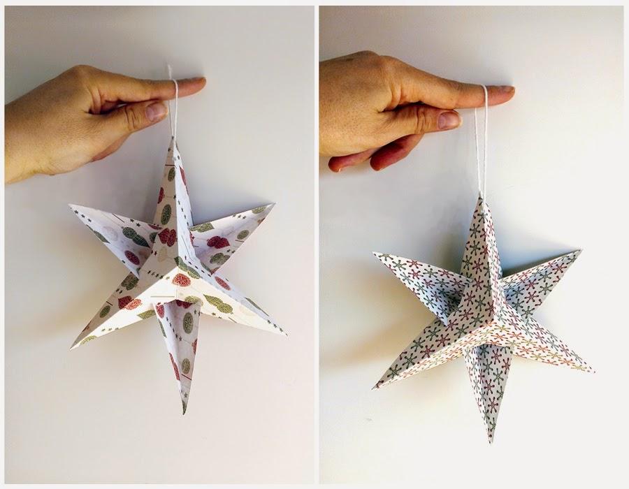 Sonrisas de papel diy estrellas de papel adornos - Adornos navidenos papel ...