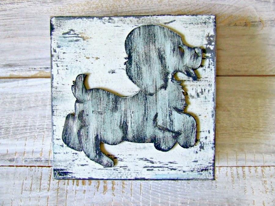 """Pudełeczka shabby chic do dziecięcego pokoju. Pudełko z misiem, z pieskiem i słoniem """"Baby Blue"""" by Eco Manufaktura."""