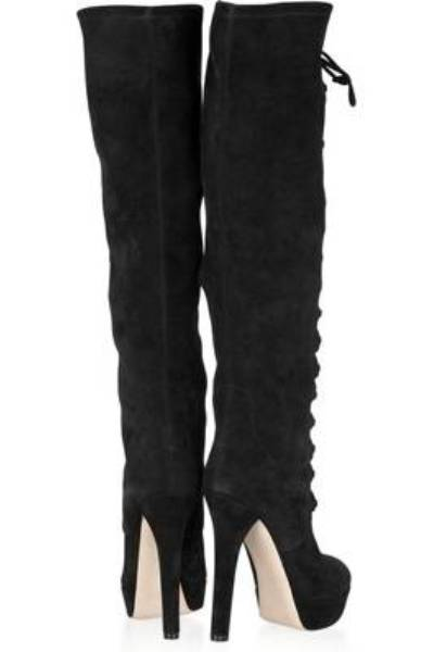 Stretch-suede knee boots by MIU MIU
