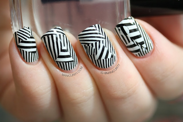 Manicurity | Mind-bending Stripey Patchwork with OMG Nail Polish Strips in Black Stripes