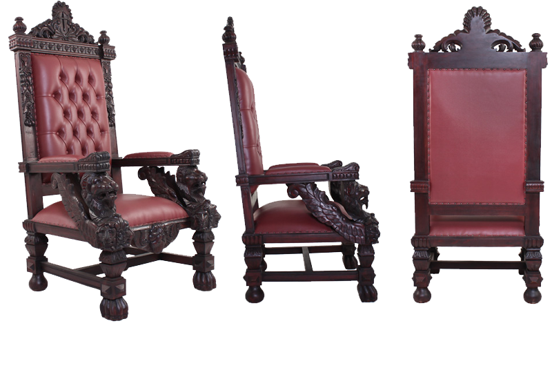 Like The Other Chairs In This Collection It Features The Lion Of Judah With  Large Lions On Each Front Armrest Along With The Angle Wings Which Join  Into The ...