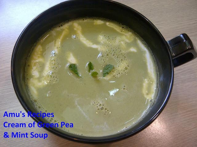 AMU'S RECIPES: Cream of Green Pea and Mint Soup