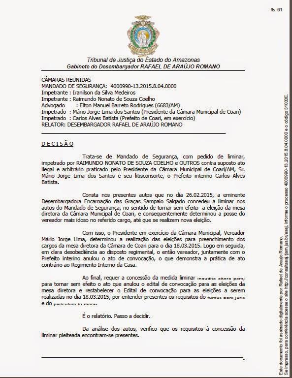 DESEMBARGADOR RAFAEL ROMANO AUTORIZA ELEIÇÃO NA CÂMARA DE COARI
