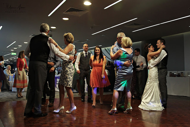 bride groom and guests dancing at Aegeas Bowl wedding