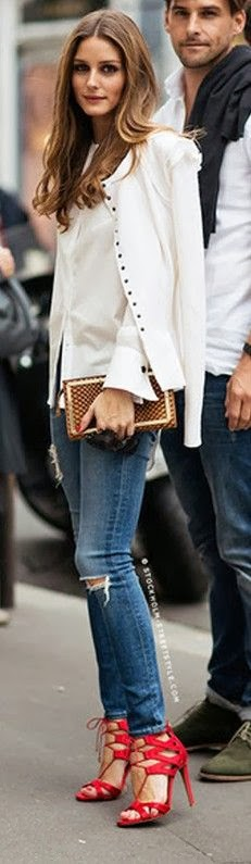 jeans with red sandals white cardigan and purse