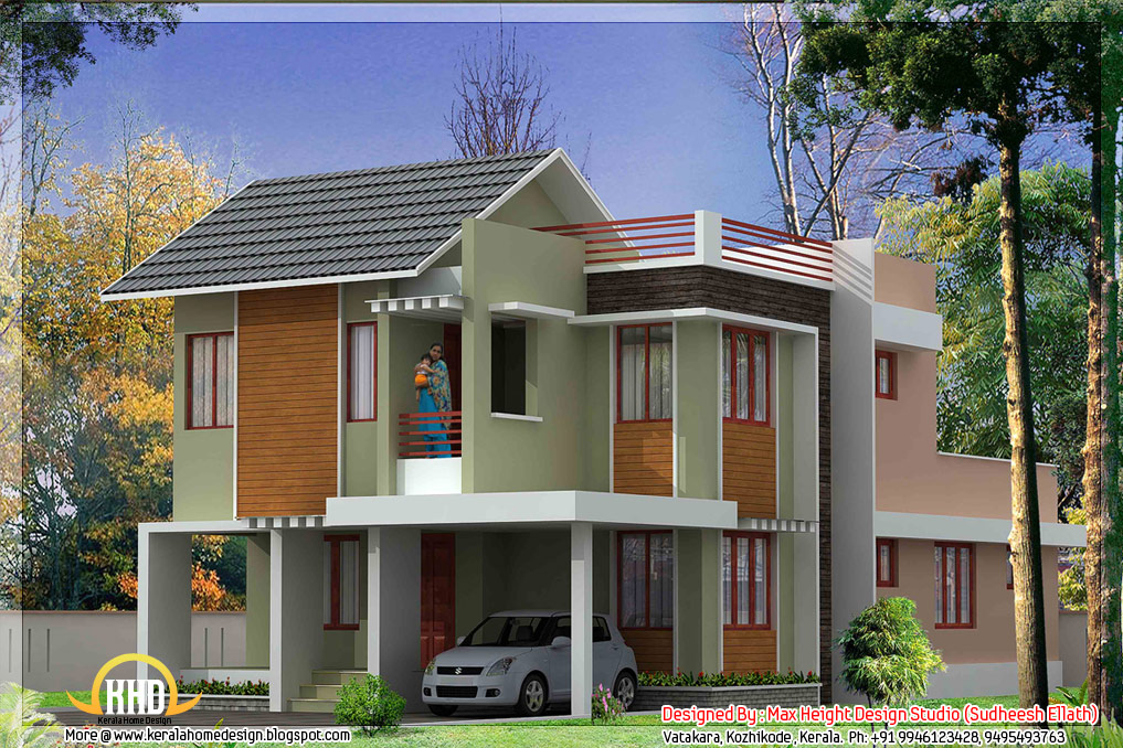 Kerala style house 3D models - Kerala home design and floor plans